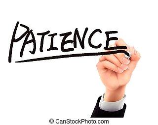 patience written by 3d hand - patience word written by hand...