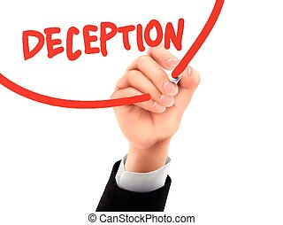 deception written by 3d hand - deception word written by...