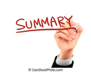 summary written by 3d hand - summary word written by hand on...