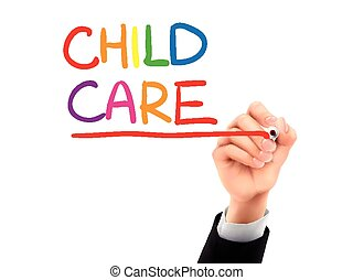 child care written by 3d hand - child care words written by...