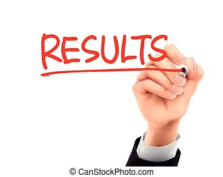 results written by 3d hand - results word written by hand on...