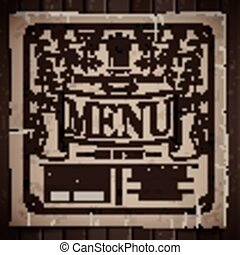 restaurant menu design in retro style over wooden background