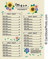 adorable restaurant menu design with sun flowers