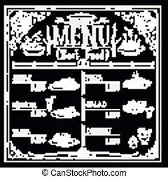 retro restaurant menu design with hand drawn food