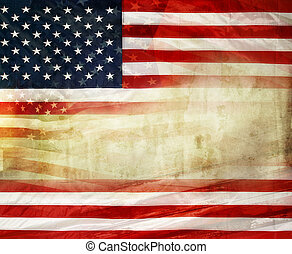 American flag - Grungy American flag. Copy space