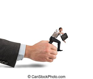 Businessman get away - Businessman trying to get away from..