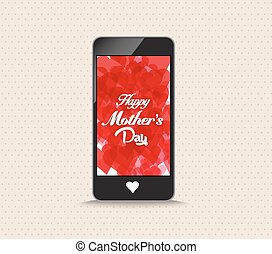 Happy mothers day with hearts red color phone