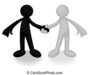 Deal - Abstract illustration of two plastic men shaking...