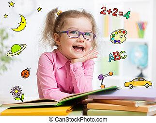 ENGRAÇADO, ÓCULOS, jardim infância, livro, leitura, esperto,...