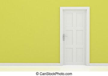 endering, közül, egy, ajtó,