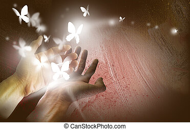 Releasing Glowing Butterflies - Graphic illustration...