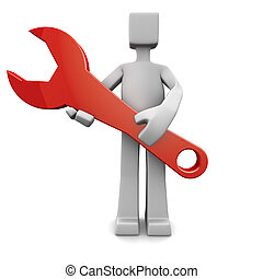 Services or support concept - Person holding a red spanner...