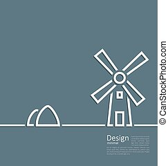 Illustration village landscape windmill haystack, design...