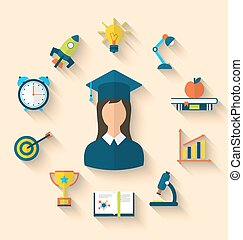 Flat icons of graduation and objects for high school and...