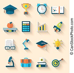 Flat icons of elements and objects for high school and...