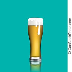 Close up realistic glass of beer with reflection