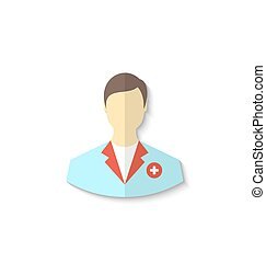 Flat icon of medical doctor with shadow isolated on white...