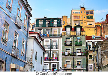 Alfama architecture, Lisbon, Portugal - Colorful building of...