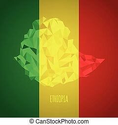 Low Poly Ethiopia with National Colors - Infographic -...