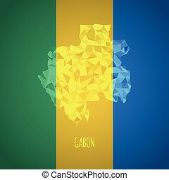 Low Poly Gabon with National Colors - Infographic - Vector...