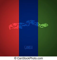 Low Poly Gambia with National Colors - Infographic - Vector...