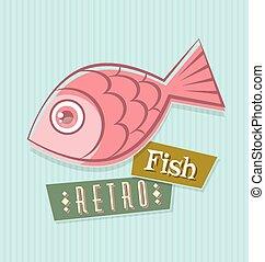 Retro fish illustration on striped blue background