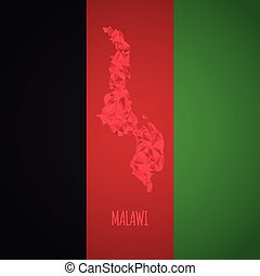 Low Poly Malawi with National Colors - Infographic - Vector...
