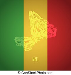 Low Poly Mali with National Colors - Infographic - Vector...