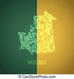Low Poly Mauritania with National Colors - Infographic -...
