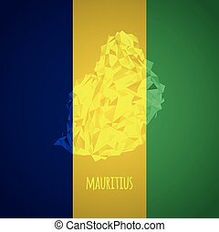 Low Poly Mauritius with National Colors - Infographic -...
