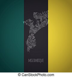 Low Poly Mozambique with National Colors - Infographic -...