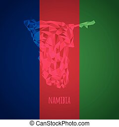 Low Poly Namibia with National Colors - Infographic - Vector...