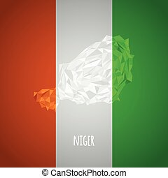 Low Poly Niger with National Colors - Infographic - Vector...