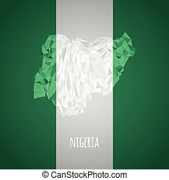 Low Poly Nigeria with National Colors - Infographic - Vector...