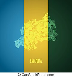 Low Poly Rwanda with National Colors - Infographic - Vector...