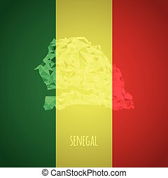 Low Poly Senegal with National Colors - Infographic - Vector...