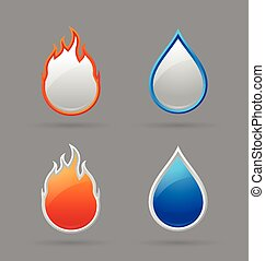 Fire and water icons - Glossy fire and water icons on grey...