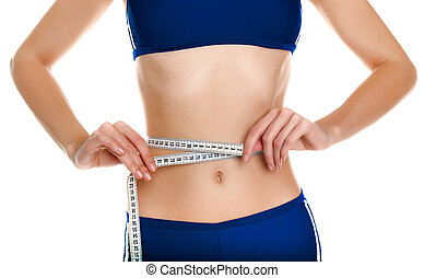 Young slim woman body shall be measured centimeter