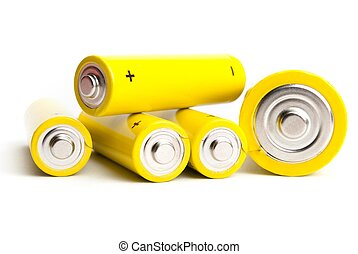 yellow alkaline batteries isolated on white background