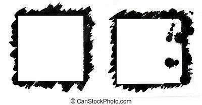 grunge frames, black