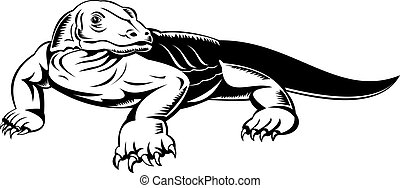 komodo dragon - illustration of a monitor lizard woodcut...