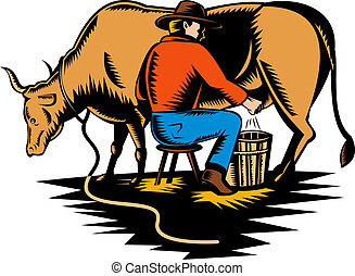 Farmer milking cow - illustration of a Farmer milking cow