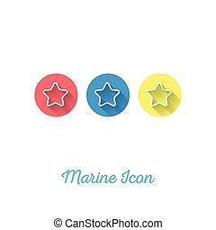 Starfish Marine Flat Icon - Webdesign Element with Long...