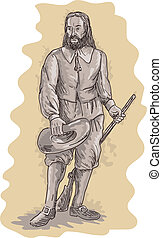 illustration of a Pilgrim standing holding a musket rifle