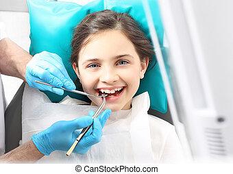 niño, a, el, Dentista,