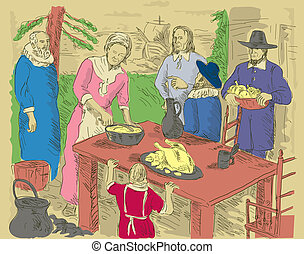 hand drawn illustration of Pilgrims celebrating first...