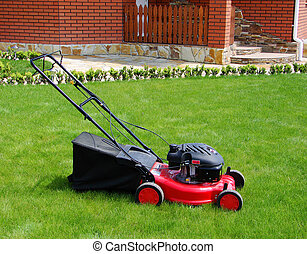 Lawn mower in the  grass