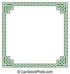 Celtic green frame, border pattern - Irish, Celtic square...