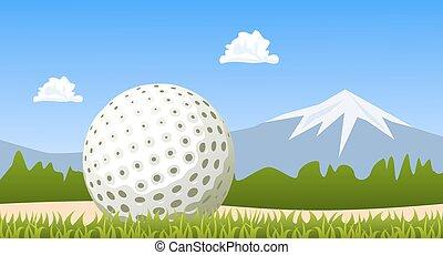 Golf ball on green grass. Vector