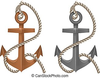 Old two anchor with rope on white b
